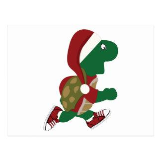 Santa Running Turtle Postcard