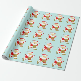 Santa running wrapping paper