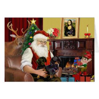 Santa s 2 Dachshunds b-t Greeting Cards