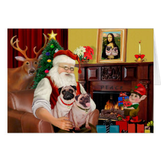 Santa s 2 Pugs f+B Greeting Card