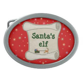 Santa s elf oval belt buckle