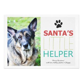 Santa s Helper- Pet Photo Holiday Flat Cards
