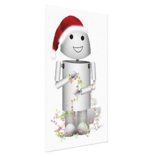 Santa s Little Helper Robo-x9 Gallery Wrapped Canvas
