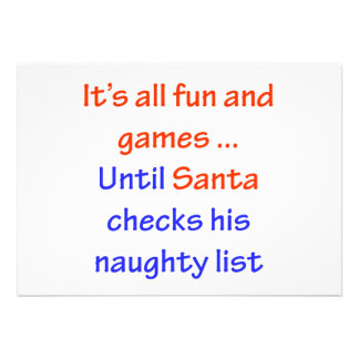 Santa s Naughty List Personalized Invites