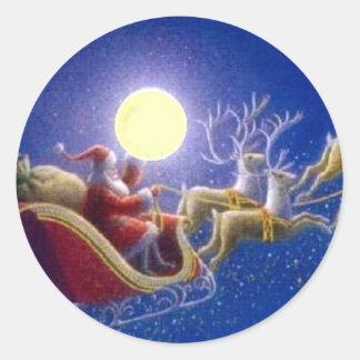 Santa's Sleigh Classic Round Sticker