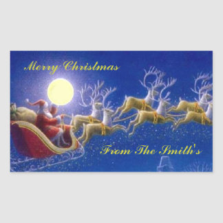 Santa's Sleigh Rectangular Sticker