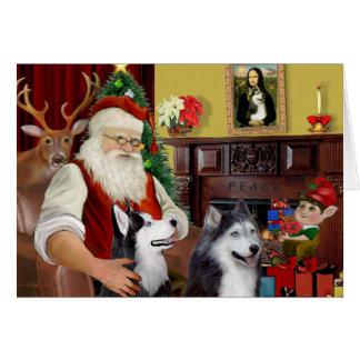 Santa s Two Siberian Huskies Card