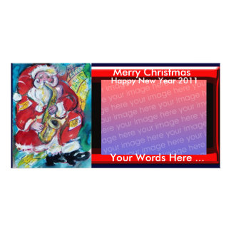 SANTA & SAX, CHRISTMAS PARTY PERSONALIZED PHOTO CARD