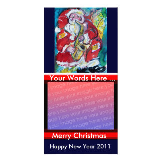 SANTA & SAX, CHRISTMAS PARTY PHOTO CARD TEMPLATE