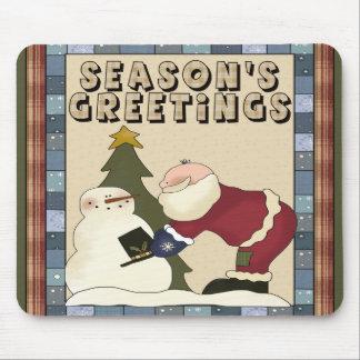 Santa Seasons Greetings Christmas Mousepad