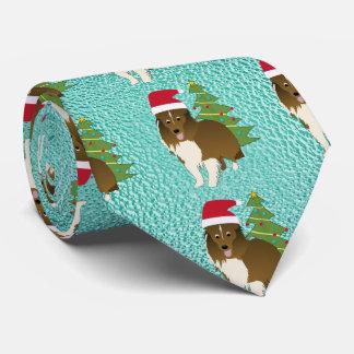 Santa Shetland Sheepdog Tie