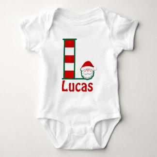 Santa Shirt for Baby Boy w Santa Monogram L