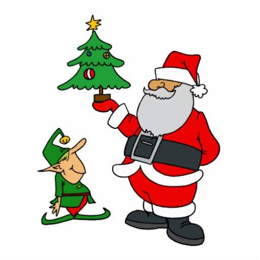 Santa Showing Elf little Tree Photo Sculptures