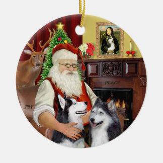 Santa - Siberian Huskies (TWO) Round Ceramic Decoration
