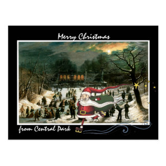 Santa Skating Over Central Park Winter Artwork Postcard