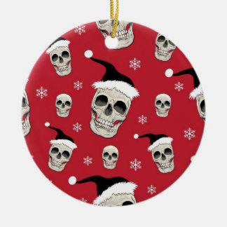 Santa Skelly (blood) Round Ceramic Decoration