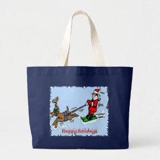 Santa Skiing Canvas Bag
