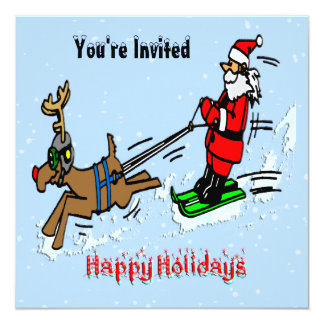 Santa Skiing Holiday Invitation
