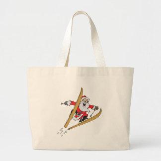 Santa Skiing Jumbo Tote Bag