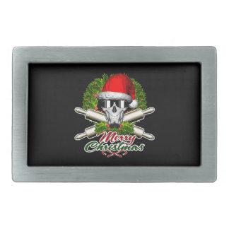 Santa Skull Baker: Merry Christmas Belt Buckles