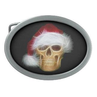 Santa skull belt buckle