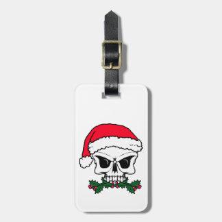 Santa skull luggage tag