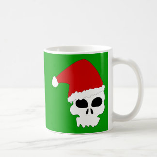 Santa Skull on Christmas Green Coffee Mugs