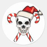 Santa Skull Round Sticker