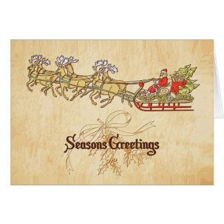 Santa Sled and Reindeer Seasons Greetings Card