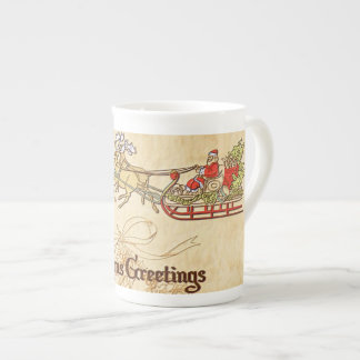 Santa Sled and Reindeer Seasons Greetings Tea Cup