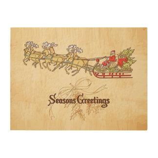 Santa Sled and Reindeer Seasons Greetings Wood Wall Art