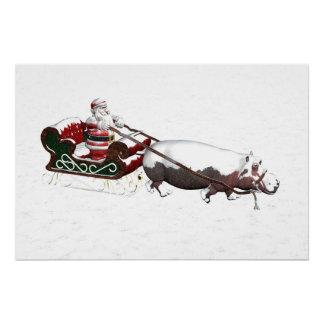 Santa Sled Pulled By Hippopotamus