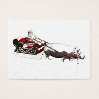 Santa Sled Pulled By Hippopotamus Business Card