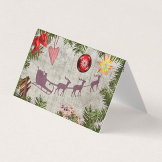 Santa sleigh and tree border Greeting card pack