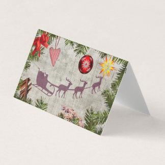 Santa sleigh and tree border Greeting card pack