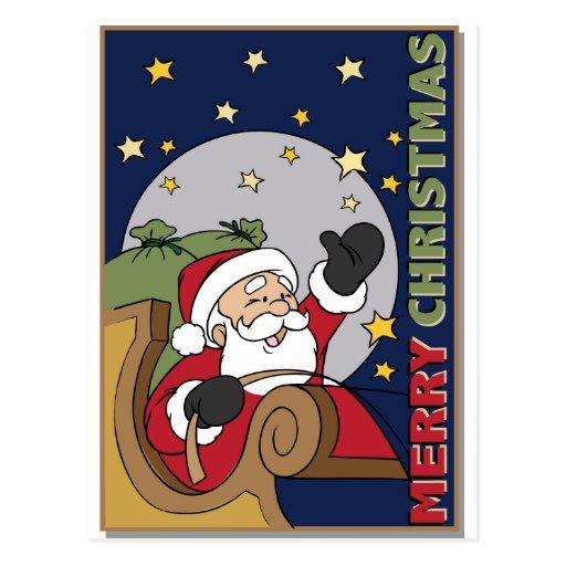 Santa Sleigh Illustration Merry Christmas Postcards