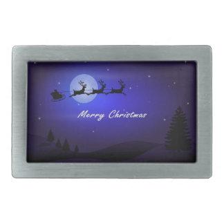 Santa Sleigh Moon Merry Christmas Belt Buckle