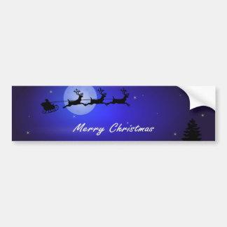 Santa Sleigh Moon Merry Christmas Bumper Sticker