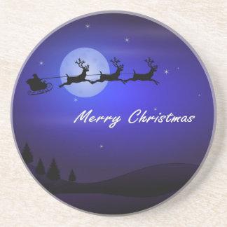 Santa Sleigh Moon Merry Christmas Coaster
