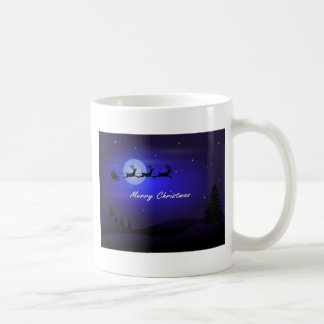 Santa Sleigh Moon Merry Christmas Coffee Mug