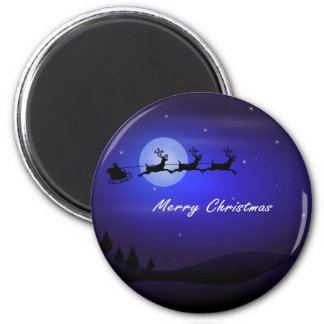 Santa Sleigh Moon Merry Christmas Magnet