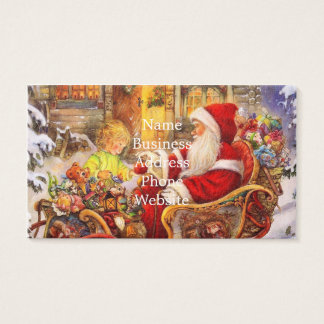 Santa sleigh - Santa claus illustration Business Card