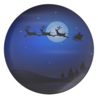 Santa & Sleigh Silhouette on Midnight Sky Plate