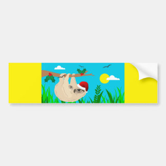 santa sloth bumper sticker