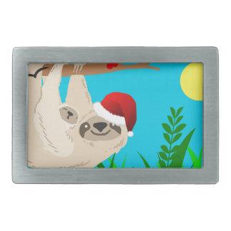 santa sloth rectangular belt buckles