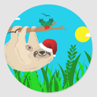santa sloth round sticker