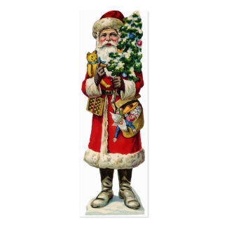 Santa Small Bookmark or Package tie on Pack Of Skinny Business Cards