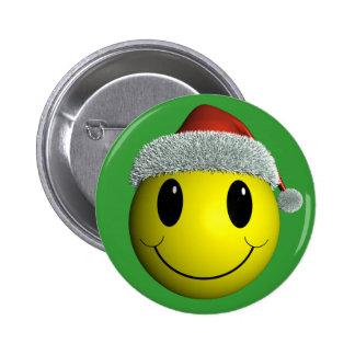 Santa Smiley Pinback Button