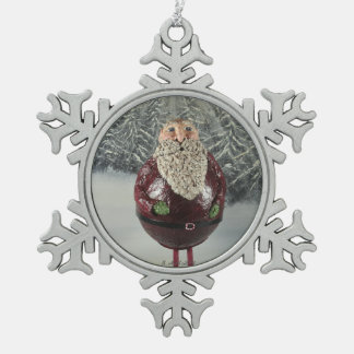 Santa Snowflake Pewter Christmas Ornament