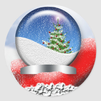 Santa Snowglobe Personalizable Holiday Cards Seals Round Sticker